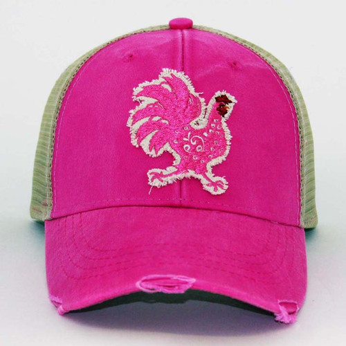 Distressed Rooster Trucker Hat  -  Neon Pink