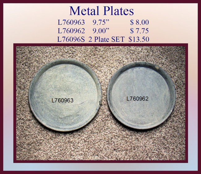 "Plate - Round Metal Plates 9.75"" and 9.00"" (L76096X)"