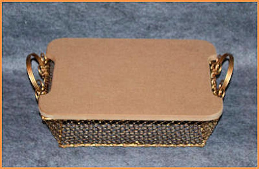 Basket - Gold Wire Rectangular Basket with MDF LID  (773307
