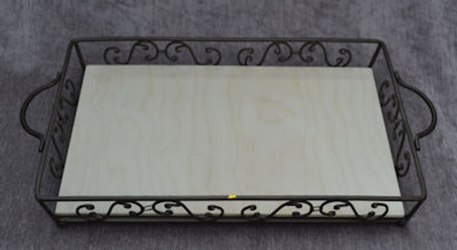 Metal Tray with Wood Insert
