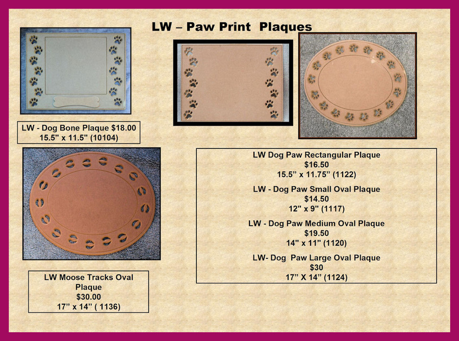 LW - Dog and Moose Paw Plaques (10104,1122, 1117, 1120, 124 1136)