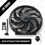 "14"" Powermax Electric Radiator Cooling Fan with Thermostat 220W 12 Volt"