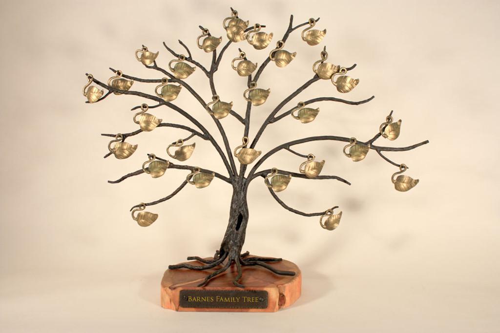 Heirloom Quality Iron Family Tree with Hand Polished Wood Base