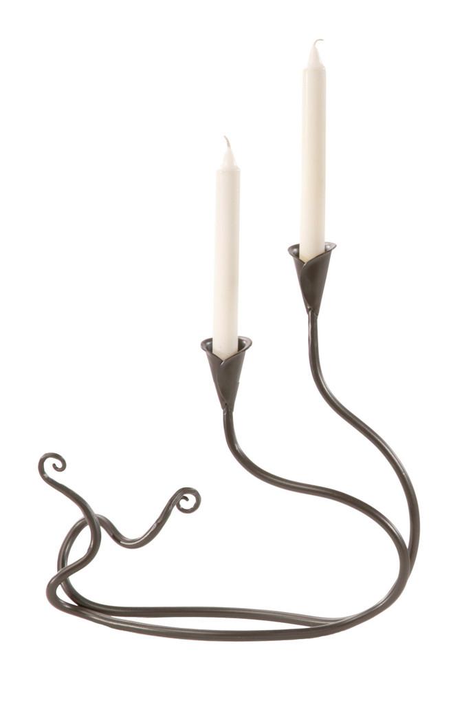 Windswept Iron Candle Holder Double