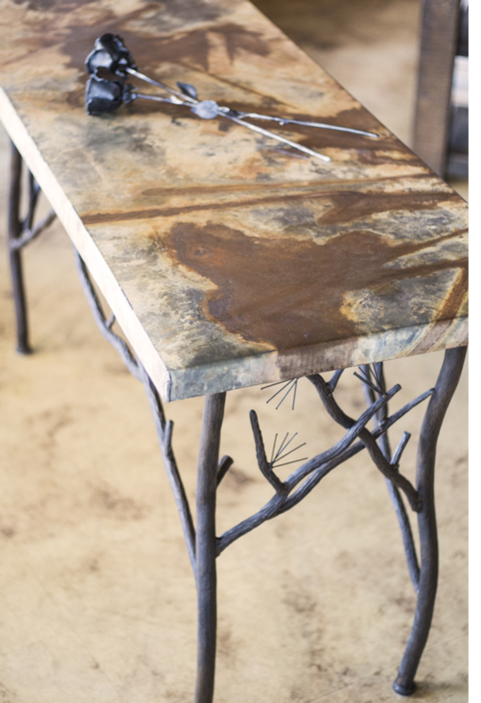 Closer look at pine console with Zinc top.