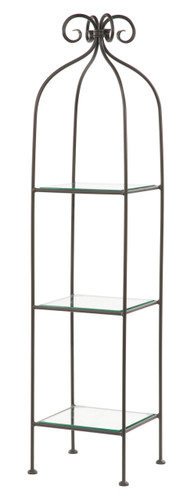 Iron Standing Shelf - Wrapped Scroll - 3 Tier-Narrow