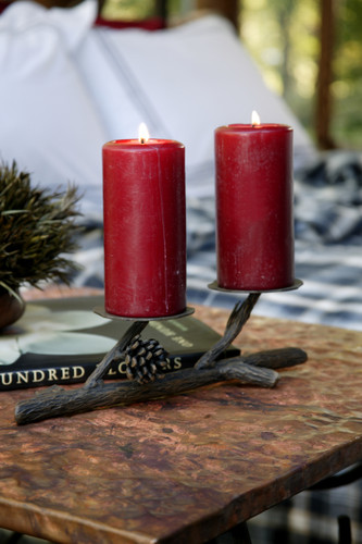 Pine Iron Candle Holder Double