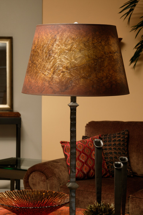 Forest hill hand forged iron floor lamp for Chevron shelf floor lamp