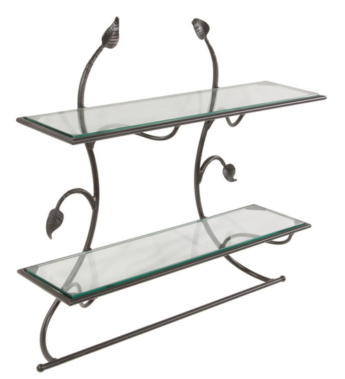 Hand Forged Iron Wall Shelf With Bar Leaf Collection