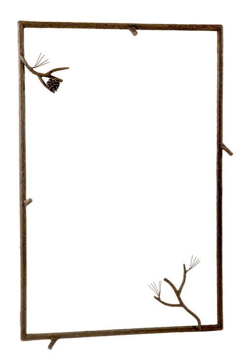 Pine Hand Forged Iron Wall Mirror Small