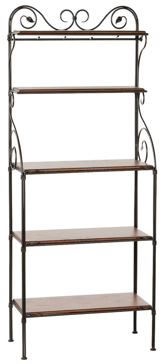 Leaf Hand Forged Iron Bakers Rack 5 Tier