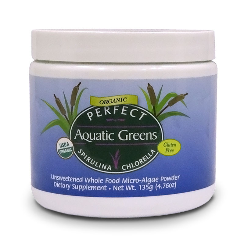 Front view of Perfect Aquatic Greens Organic, Gluten free containing spirulina, chlorella, unsweetened whole food powder from Perfect Supplements.