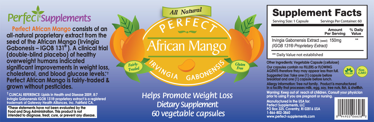 Picture of entire label for Perfect Supplements African Mango including supplement facts, ingredients and suggested use.