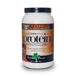 Thumbnail view of a container of Tony's Pure Whey Plus Double Dutch Chocolate Protein with 1000mg of L-Glutamine added per serving from G.W. Health Products.