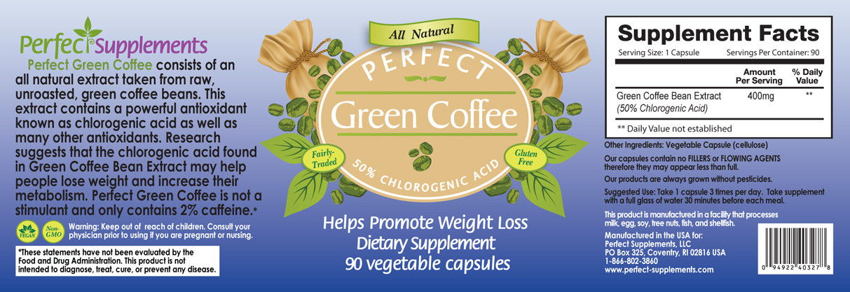 Full label view including supplement facts, ingredients and suggested use for Perfect Green Coffee.