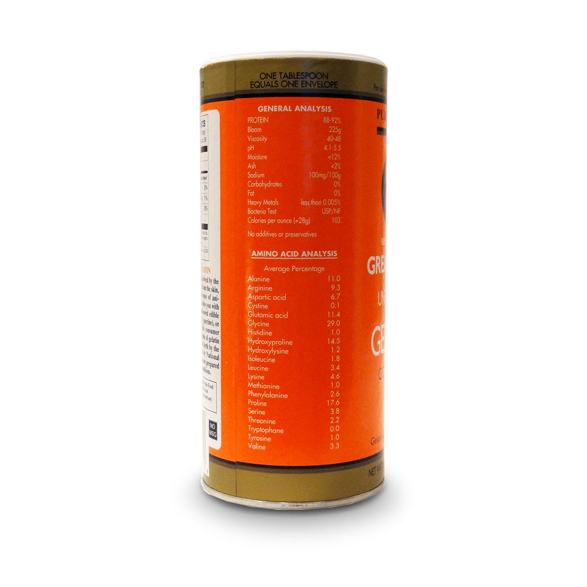 Label view of amino acid analysis and general analysis of Great Lakes Pure Protein Kosher Beef Unflavored Gelatin.