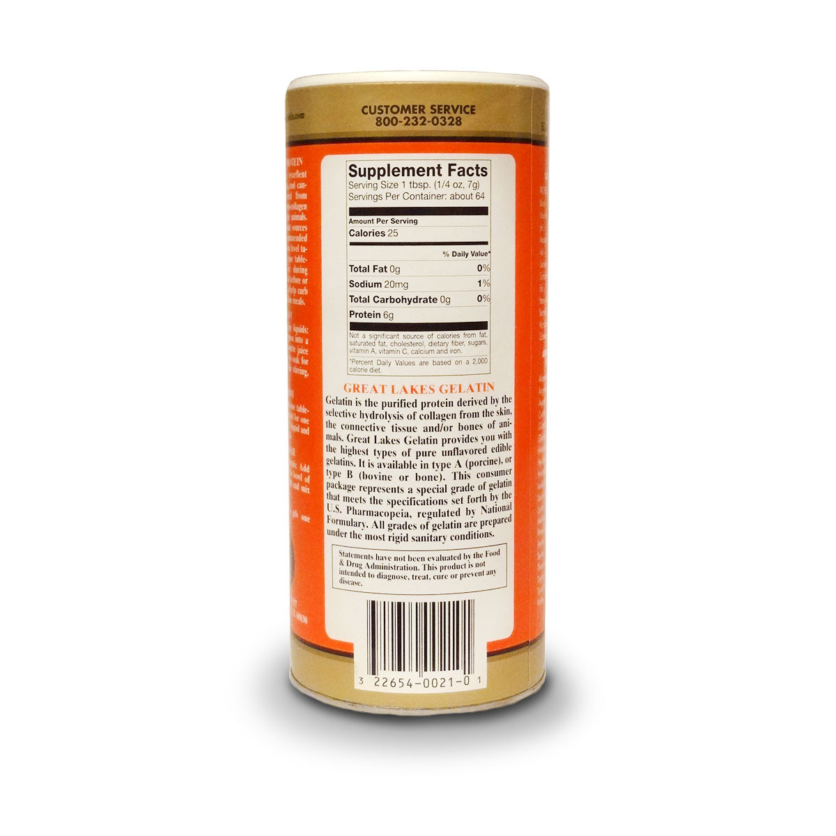 Label view including suggested use for Great Lakes Porcine Gelatin Collagen.