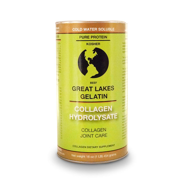 Front view of Great Lakes cold water soluble grass-fed Beef Collagen Hydrolysate dietary supplement.