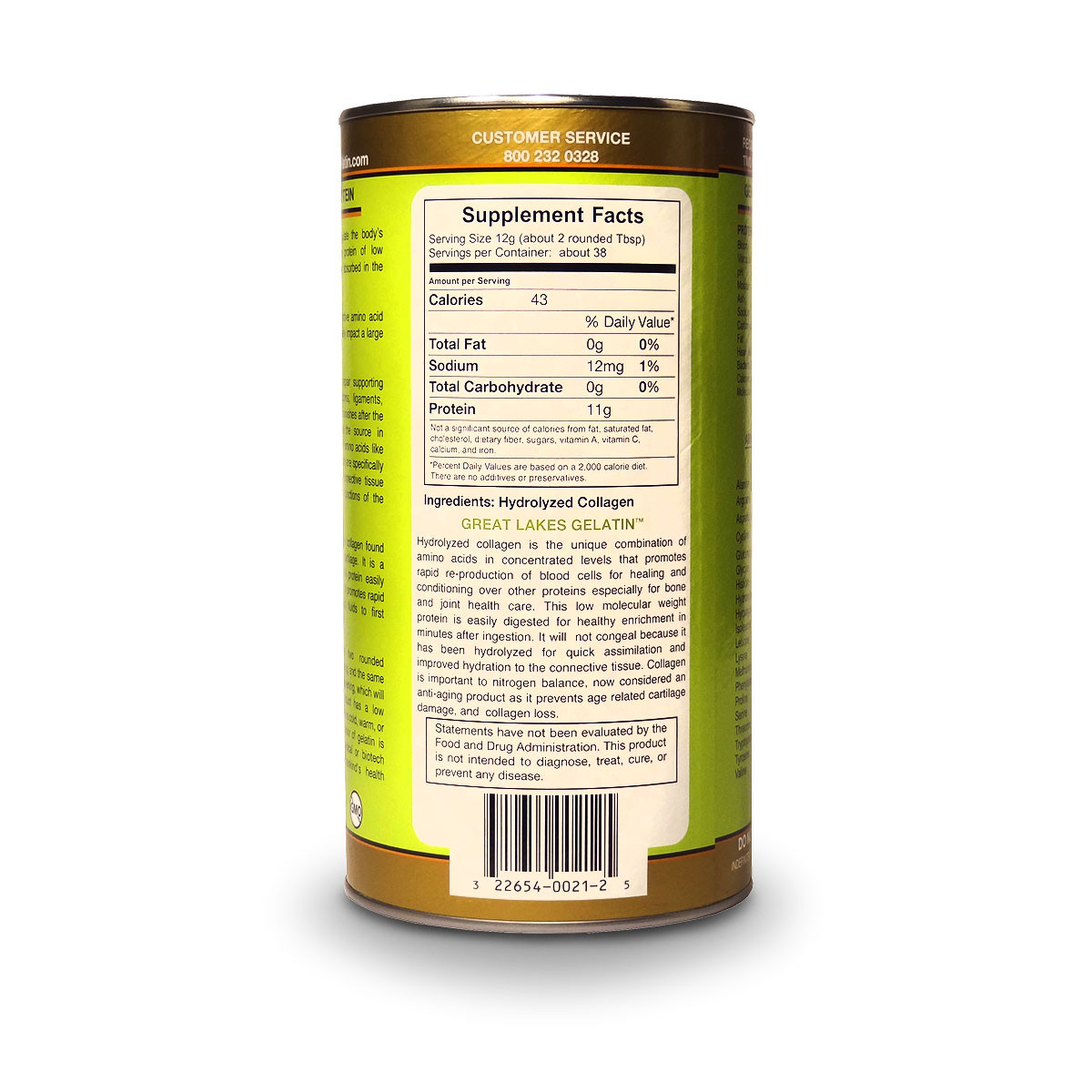 View of label side with supplements for Great Lakes Collagen Hydrolysate.