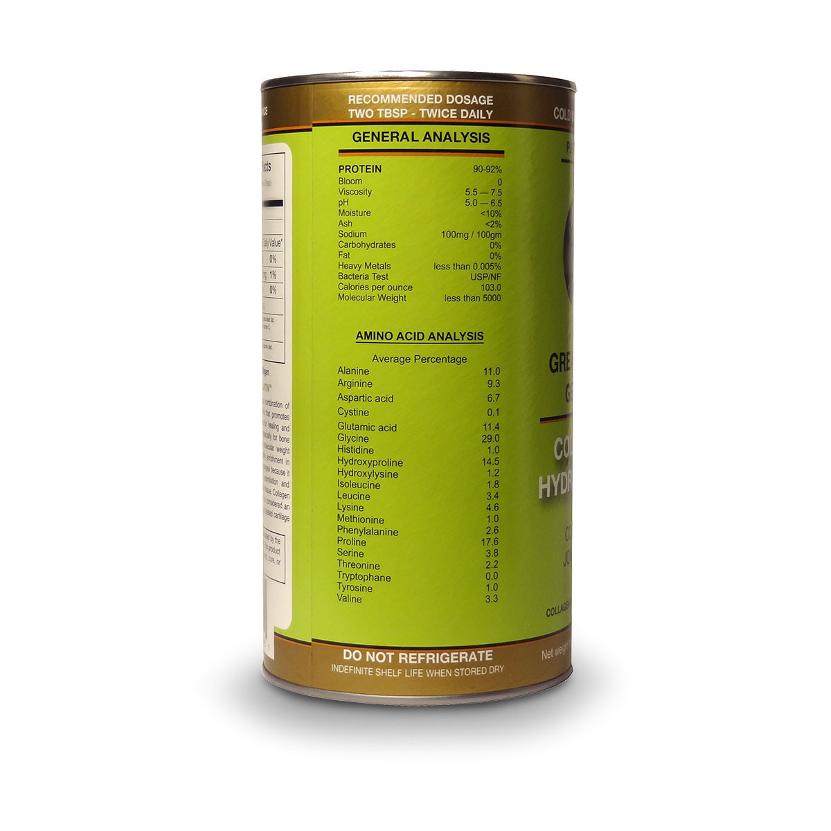 View of label side with dosage instructions, amino acid analysis and general analysis for Great Lakes Collagen Hydrolysate.
