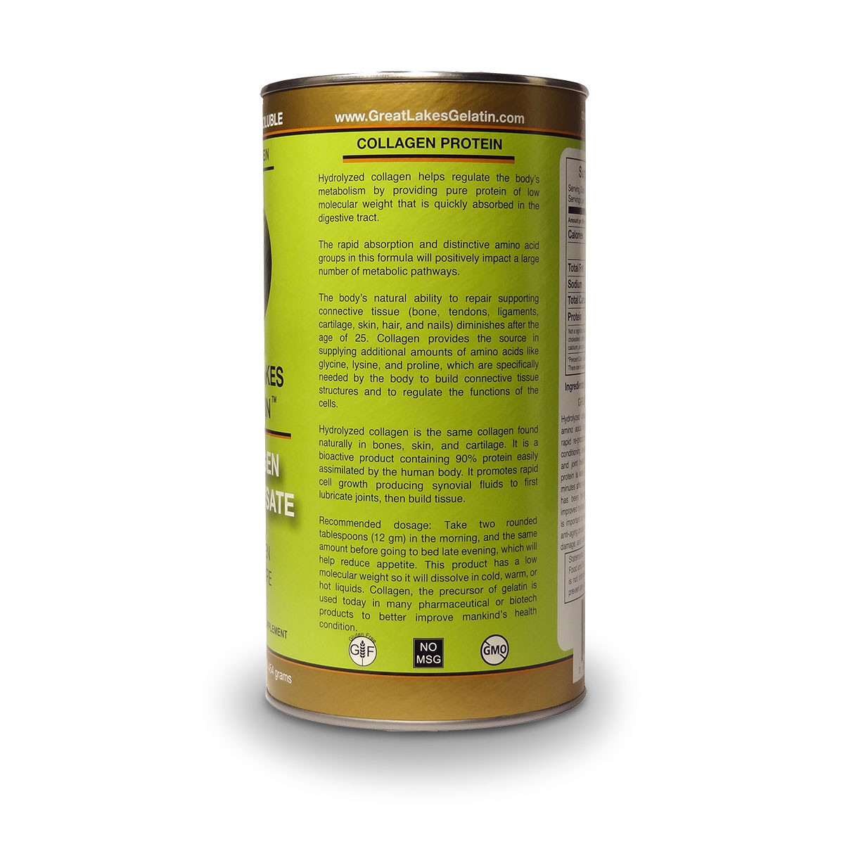 View of label side with dosage instruction and general information for Great Lakes Collagen Hydrolysate.
