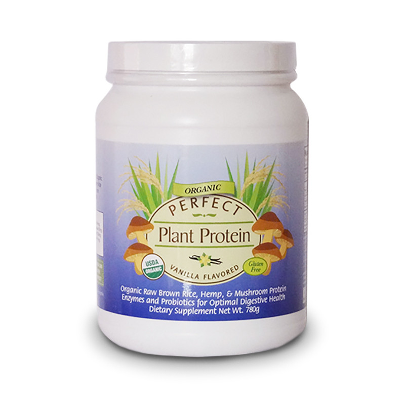 Front view of Perfect Vanilla Protein flavored powder. Gluten free and organically grown dietary supplement from Perfect Supplements.