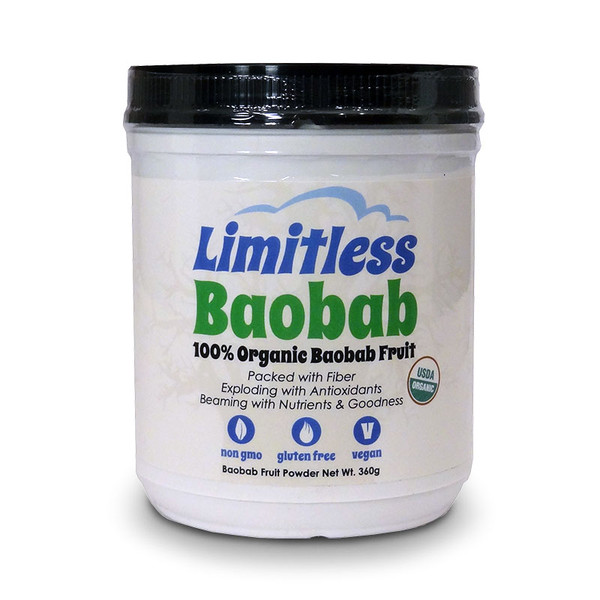 Front view of a container of Good Baobab Powder by Limitless.