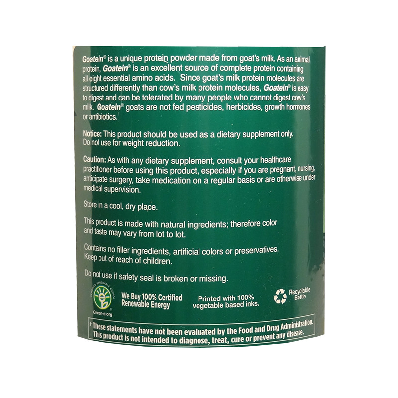 Full label view including supplement facts, ingredients, and suggested use for Goatein Milk Protein Powder by Garden of Life.