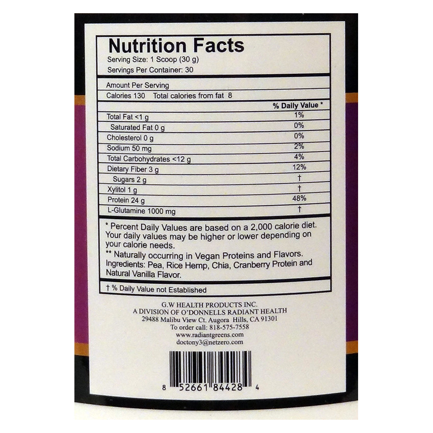 Nutrition Facts for Dr. Tony O'Donnell's Vegan Protein Powder, French Vanilla Flavor.