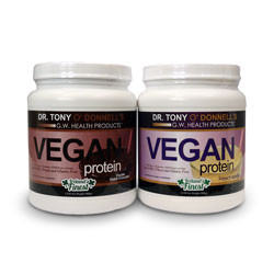 Thumbnail view of Dr. Tony O'Donnell's Vegan Protein Powders, both French Vanilla and Double Dutch Chococlate flavors.