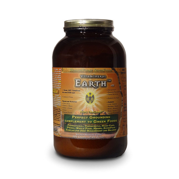 Front view of a bottle of  Vitamineral Earth from HealthForce Super Foods. Perfect grounding complement to Green Foods.
