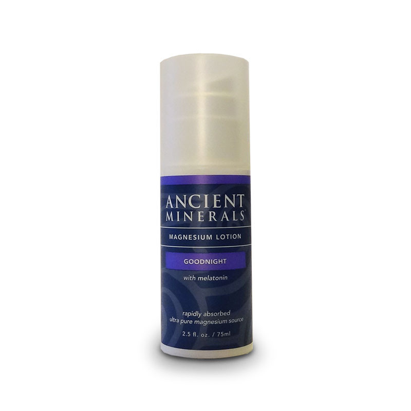 Front view of container of Ancient Minerals Magnesium Good Night Lotion with melatonin, a rapidly absorbed ultra pure magnesium source.