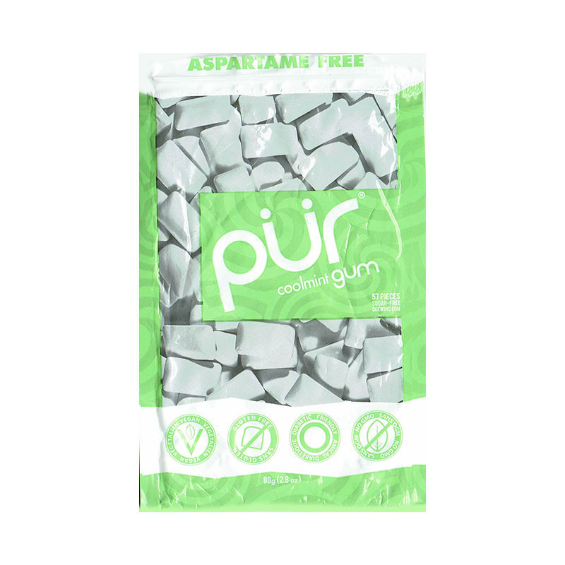 Front view of a package of Pur Gum, Cool Mint flavor.