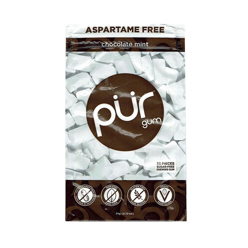 Front view of a package of Pur Gum, Chocolate Mint flavor.