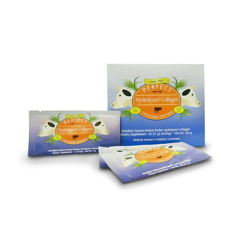 The box for and three packets of Perfect Hydrolyzed Collagen Single Serve packets of Brazilian grass-fed collagen.