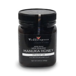 Thumbnail view of a bottle of Wedderspoon KFactor 22 medicinal raw Manuka Honey, 8.8 oz / 250 mg.