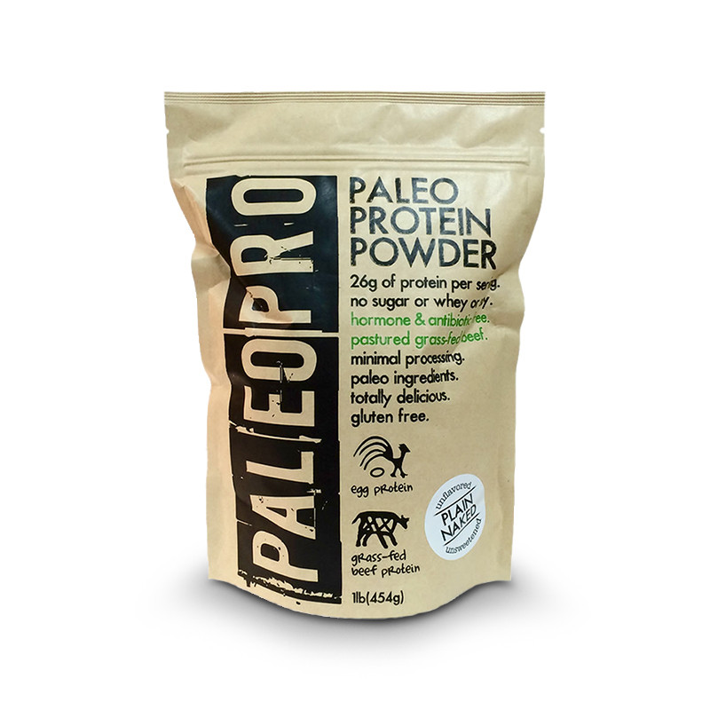 Front view of a 1 lb bag of PaleoPro Protein Powder from grass-fed beef and egg protein.
