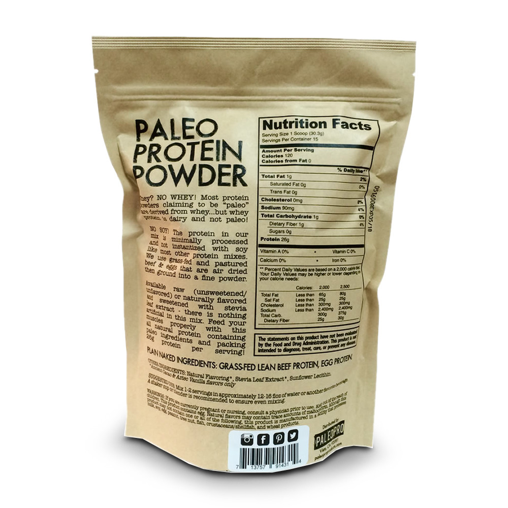 Back of a 1 lb bag of PaleoPro Paleo Protein Powder including supplement facts & ingredients for all three flavors.