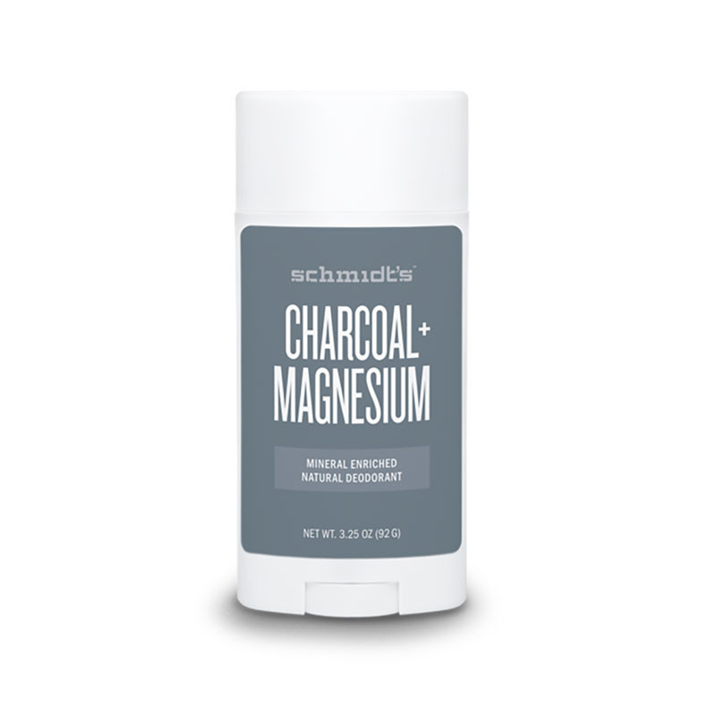 Front view of Schmidt's Charcoal + Magnesium Natural Deodorant Stick.