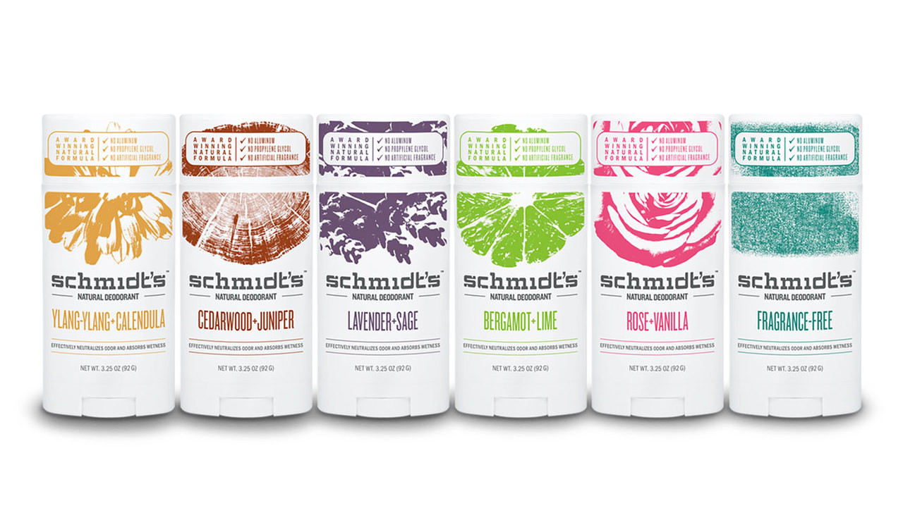 Front view of Schmidt's Natural Deodorant with no aluminum, all scents.