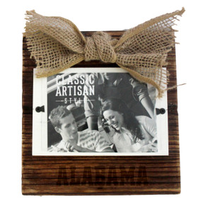 Alabama Wood Frame with Burlap Bow