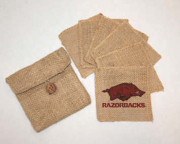 Arkansas Burlap Coasters