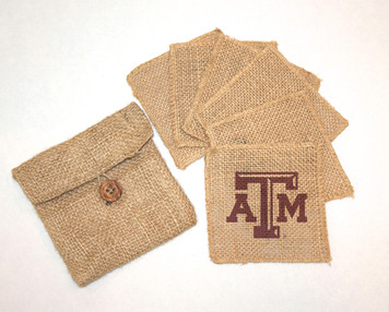 Texas A&M Burlap Coasters