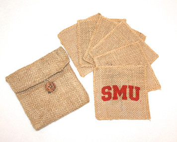 Southern Methodist Burlap Coasters