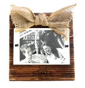 Iowa State Wood Frame with Burlap Bow