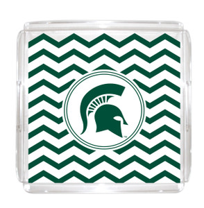 Michigan State Lucite Tray 12x12