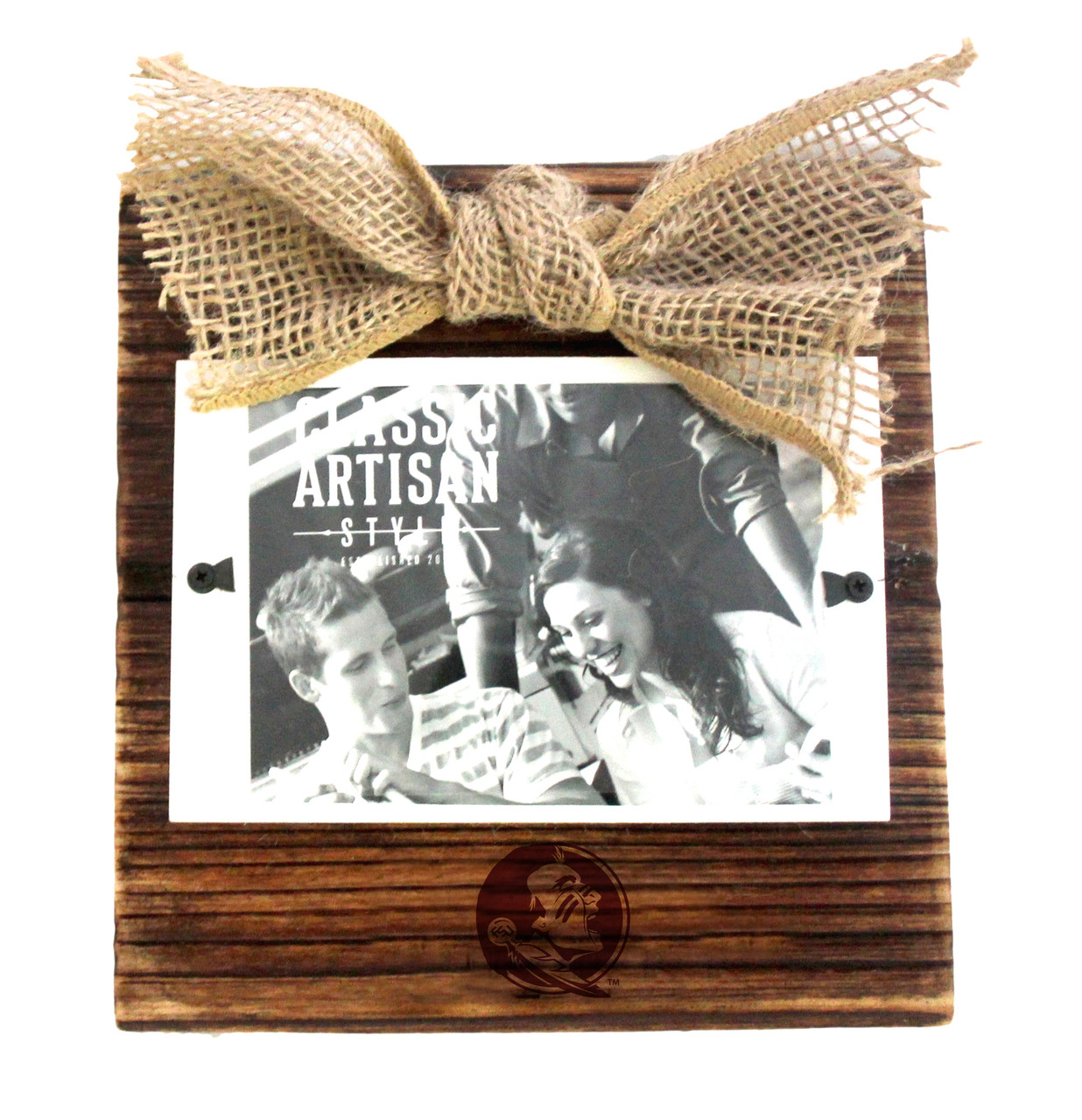 Florida State Wood Frame with Burlap Bow - College Artisan