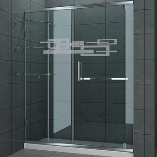 EtchedFX glass film style: Etched Deco applied to glass shower doors