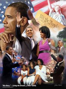 Barack Obama - His-Story - Living the Dream (1963-2008) Art Print - Wishum Gregory