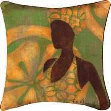 Ebony Art Green Pillow 18 x 18in